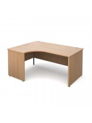Maestro 25 PL left hand ergonomic desk 1600mm - beech panel leg design