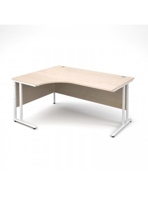 Maestro 25 WL left hand ergonomic desk 1600mm - white cantilever frame, maple top