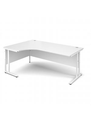 Maestro 25 WL left hand ergonomic desk 1800mm - white cantilever frame, white top