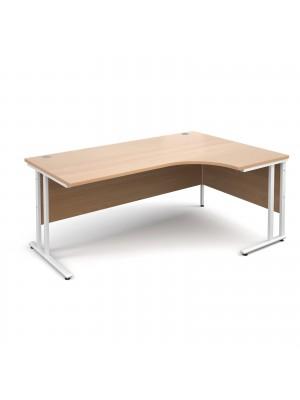 Maestro 25 WL right hand ergonomic desk 1800mm - white cantilever frame, beech top