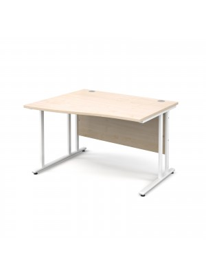 Maestro 25 WL left hand wave desk 1200mm - white cantilever frame, maple top