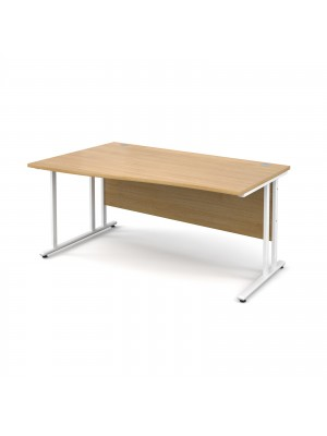 Maestro 25 WL left hand wave desk 1600mm - white cantilever frame, oak top