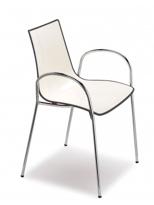 Gecko shell dining chair with chrome legs and arms - anthracite