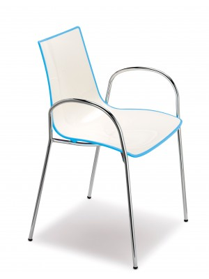 Gecko shell dining chair with chrome legs and arms - blue