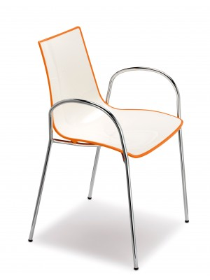 Gecko shell dining chair with chrome legs and arms - orange