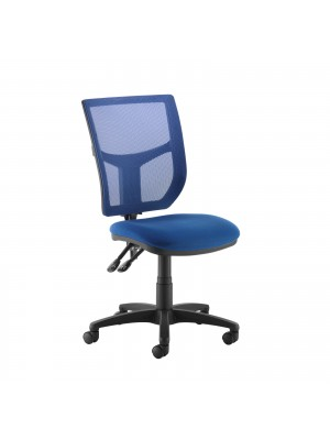 Altino coloured mesh back operators chair with no arms - blue mesh and fabric seat