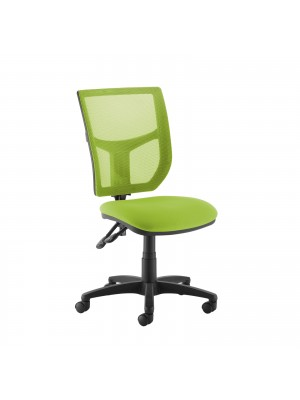 Altino coloured mesh back operators chair with no arms - green mesh and fabric seat