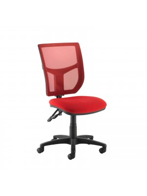Altino coloured mesh back operators chair with no arms - red mesh and fabric seat