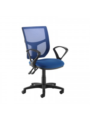 Altino coloured mesh back operators chair with fixed arms - blue mesh and fabric seat
