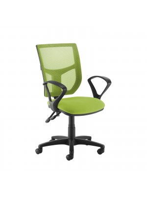 Altino coloured mesh back operators chair with fixed arms - green mesh and fabric seat