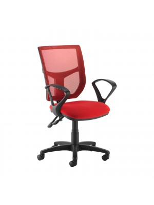 Altino coloured mesh back operators chair with fixed arms - red mesh and fabric seat