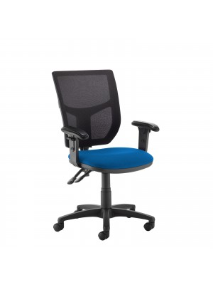 Altino 2 lever high mesh back operators chair with adjustable arms - blue