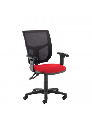 Altino 2 lever high mesh back operators chair with adjustable arms - red