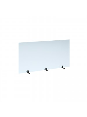 Free standing acrylic 700mm high screen with black metal feet 1400mm wide