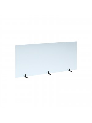 Free standing acrylic 700mm high screen with black metal feet 1600mm wide