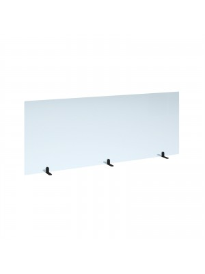 Free standing acrylic 700mm high screen with black metal feet 1800mm wide