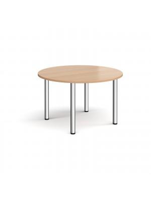Circular chrome radial leg meeting table 1200mm - beech