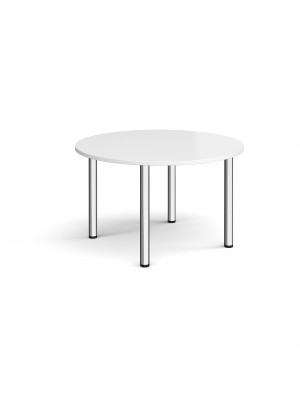 Circular chrome radial leg meeting table 1200mm - white