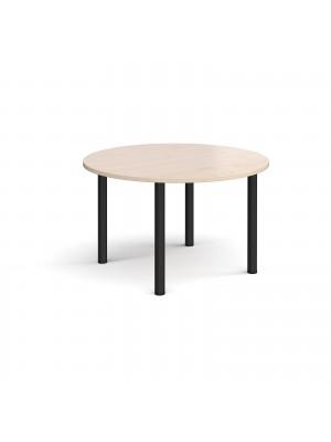 Circular black radial leg meeting table 1200mm - maple