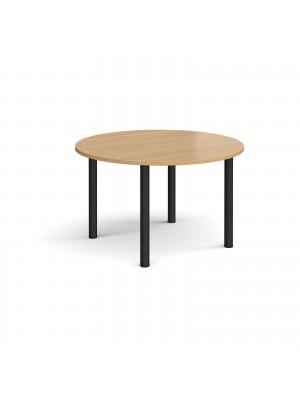 Circular black radial leg meeting table 1200mm - oak