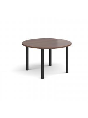Circular black radial leg meeting table 1200mm - walnut