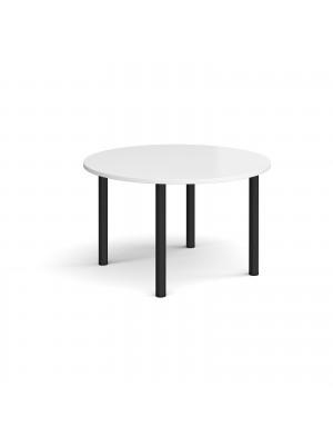 Circular black radial leg meeting table 1200mm - white