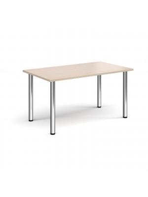 Rectangular chrome radial leg meeting table 1400mm x 800mm - maple