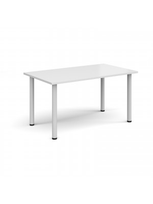 Rectangular white radial leg meeting table 1400mm x 800mm - white