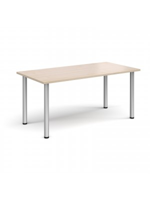 Rectangular silver radial leg meeting table 1600mm x 800mm - maple