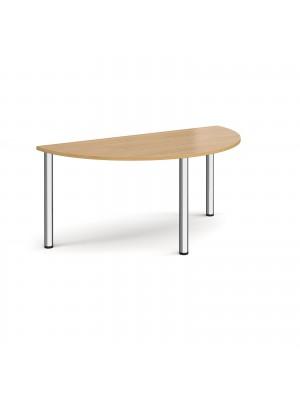Semi circular chrome radial leg meeting table 1600mm x 800mm - oak