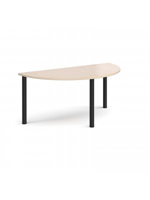 Semi circular black radial leg meeting table 1600mm x 800mm - maple