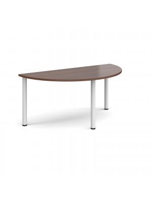 Semi circular white radial leg meeting table 1600mm x 800mm - walnut