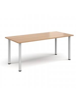 Rectangular white radial leg meeting table 1800mm x 800mm - beech