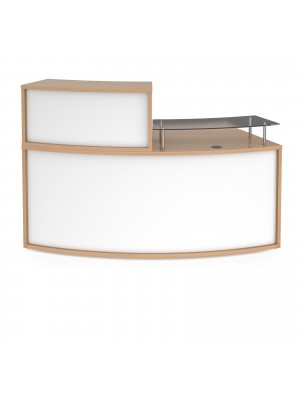 Denver medium curved complete reception unit - beech with white panels