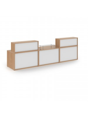 Denver large straight complete reception unit - beech with white panels