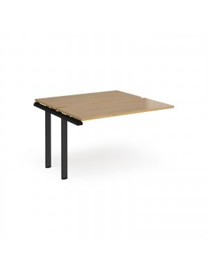 Adapt add on unit single 1200mm x 1200mm - black frame, oak top