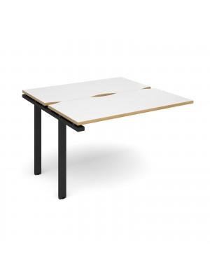 Adapt II add on unit single 1200mm x 1200mm - black frame, white top with oak edging