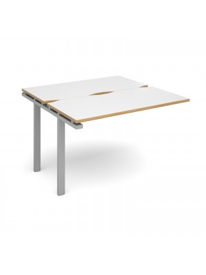 Adapt II add on unit single 1200mm x 1200mm - silver frame, white top with oak edging
