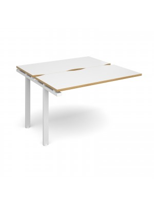 Adapt II add on unit single 1200mm x 1200mm - white frame, white top with oak edging