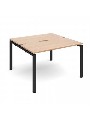 Adapt II back to back desks 1200mm x 1200mm - black frame, beech top