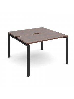 Adapt II back to back desks 1200mm x 1200mm - black frame, walnut top