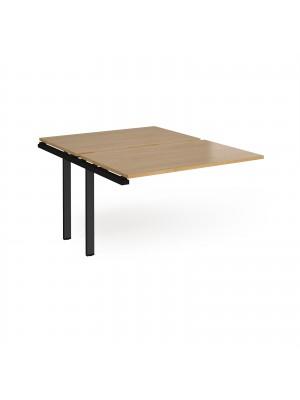 Adapt add on unit single 1200mm x 1600mm - black frame, oak top