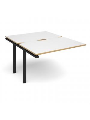 Adapt II add on unit single 1200mm x 1600mm - black frame, white top with oak edging