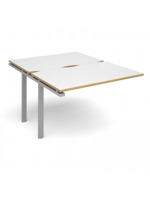 Adapt II add on unit single 1200mm x 1600mm - silver frame, white top with oak edging