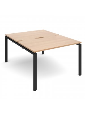 Adapt II back to back desks 1200mm x 1600mm - black frame, beech top