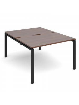 Adapt II back to back desks 1200mm x 1600mm - black frame, walnut top