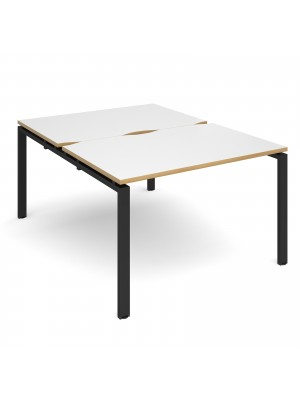 Adapt II back to back desks 1200mm x 1600mm - black frame, white top with oak edging