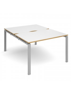 Adapt II back to back desks 1200mm x 1600mm - silver frame, white top with oak edging