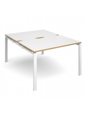 Adapt II back to back desks 1200mm x 1600mm - white frame, white top with oak edging