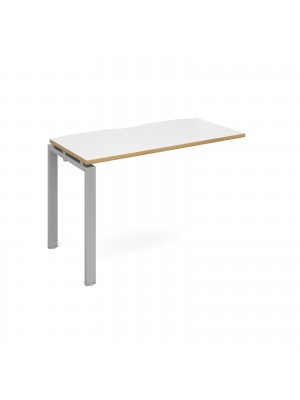 Adapt add on unit single 1200mm x 600mm - silver frame, white top with oak edging